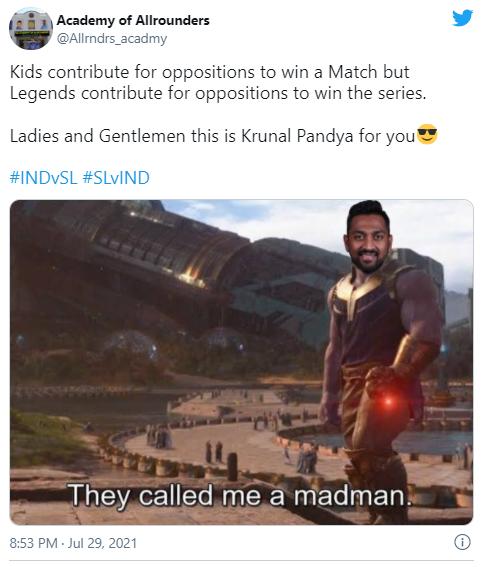 IND vs SL: श्रीलंका से सीरीज हारी भारतीय टीम, तो कोरोना पीड़ित क्रुणाल पांड्या पर फूटा लोगों का गुस्सा